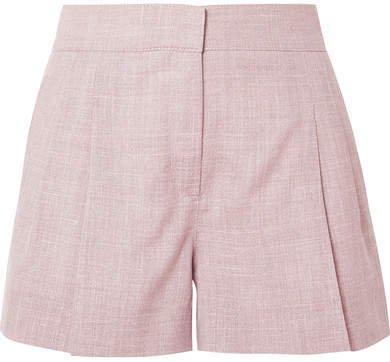 CASASOLA - Pleated Wool, Silk And Linen-blend Shorts - Blush