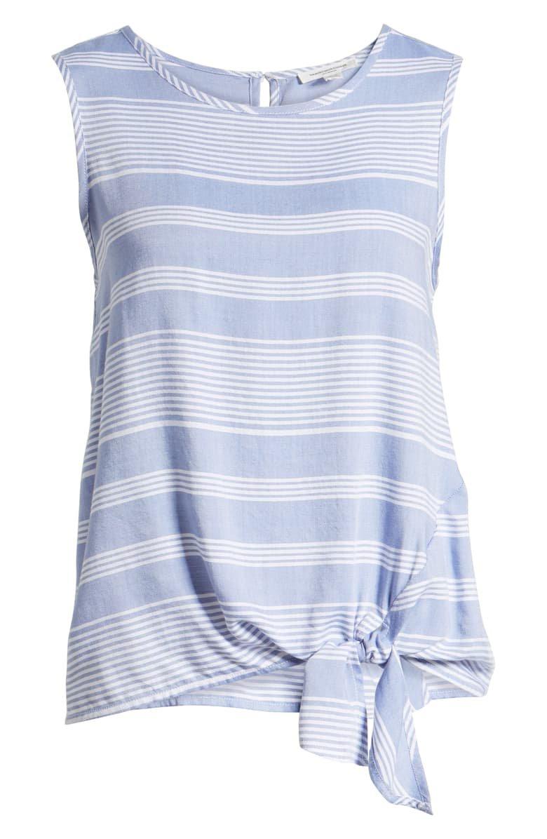 beachlunchlounge Stripe Side Tie Sleeveless Blouse | Nordstrom