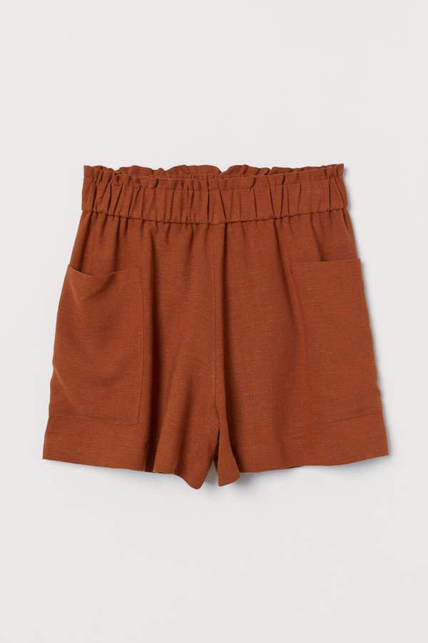 Linen-blend Shorts High Waist - Orange