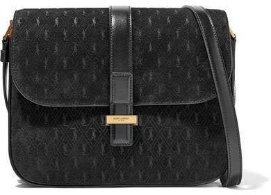 Monogramme Leather-trimmed Suede Shoulder Bag - Black