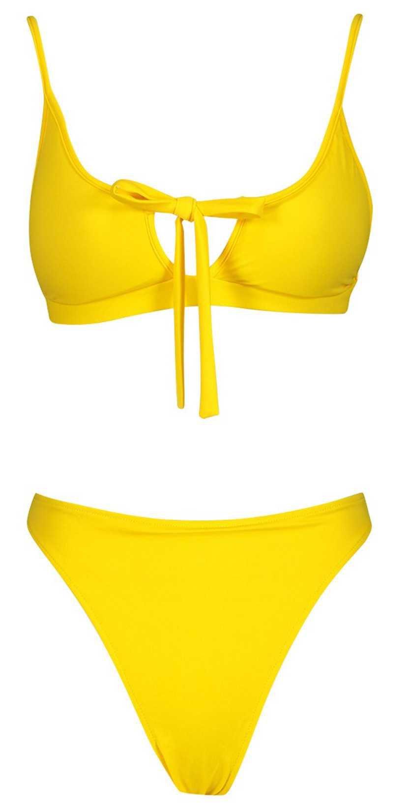 yellow bikini set   boohoo swimwear