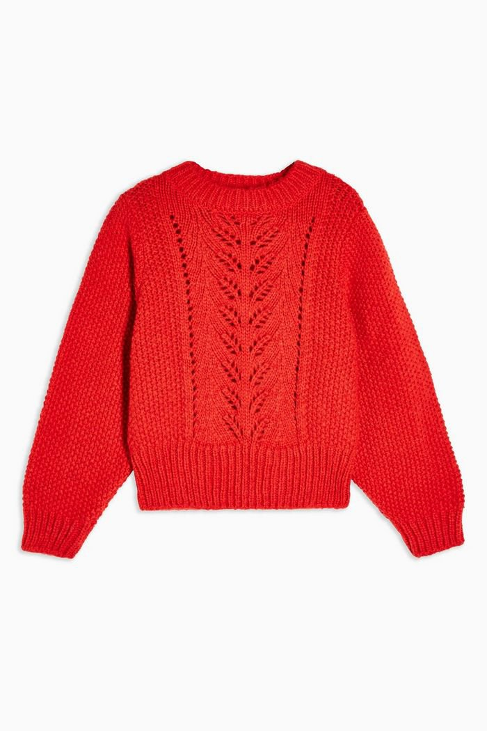 Red Knitted Pointelle Crop Jumper   Topshop red