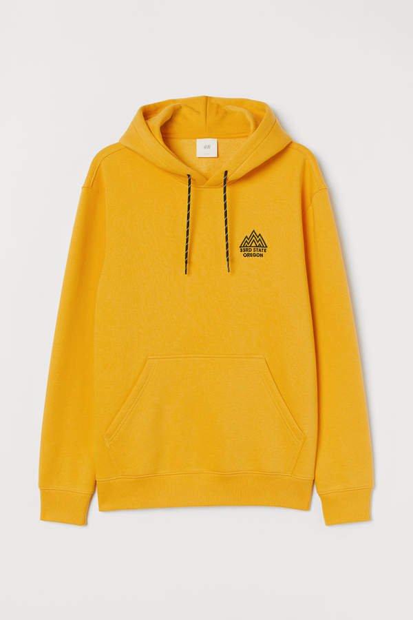 Printed Hooded Sweatshirt - Yellow