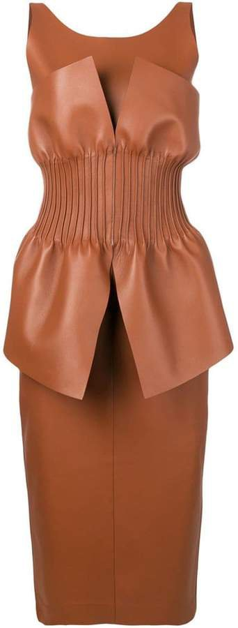 gathered bodice leather dress