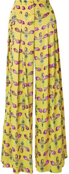 Pleated Floral-print Satin Wide-leg Pants - Bright yellow