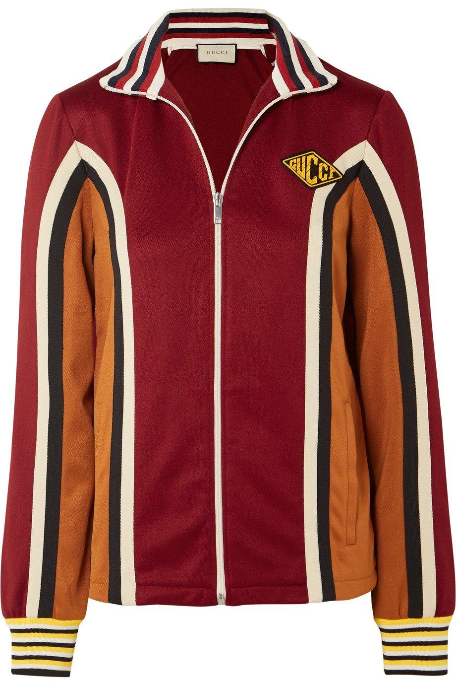 Gucci | Striped stretch-jersey track jacket | NET-A-PORTER.COM