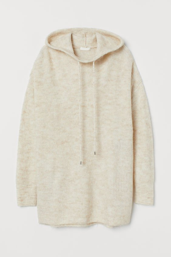 Knitted hooded jumper - Cream - Ladies | H&M GB