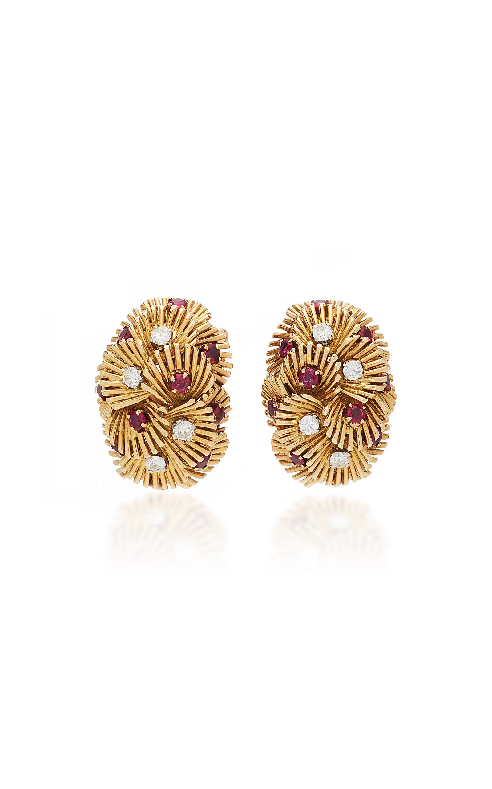 Simon Teakle Ruby Diamond And Gold Earrings
