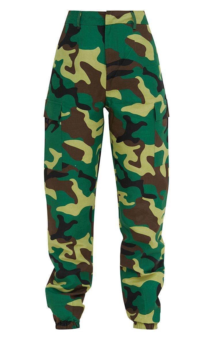 Khaki Camo Print Cargo Trousers. Trousers | PrettyLittleThing USA