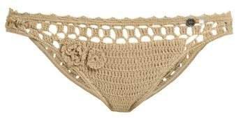 Jannah Cheeky Crochet Bikini Briefs - Womens - Tan