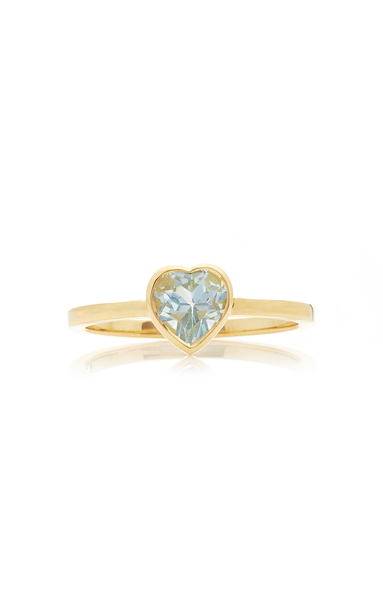 Katey Walker Tiny Heart 18K Gold and Topaz Ring Size: 6
