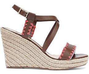 Embroidered Leather Wedge Espadrille Sandals