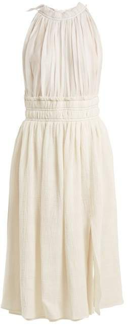 Vivienne Gathered Midi Dress - Womens - Ivory