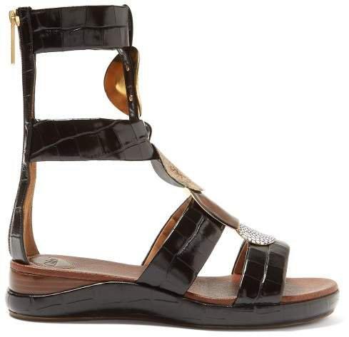 Crocodile Effect Leather Gladiator Sandals - Womens - Black