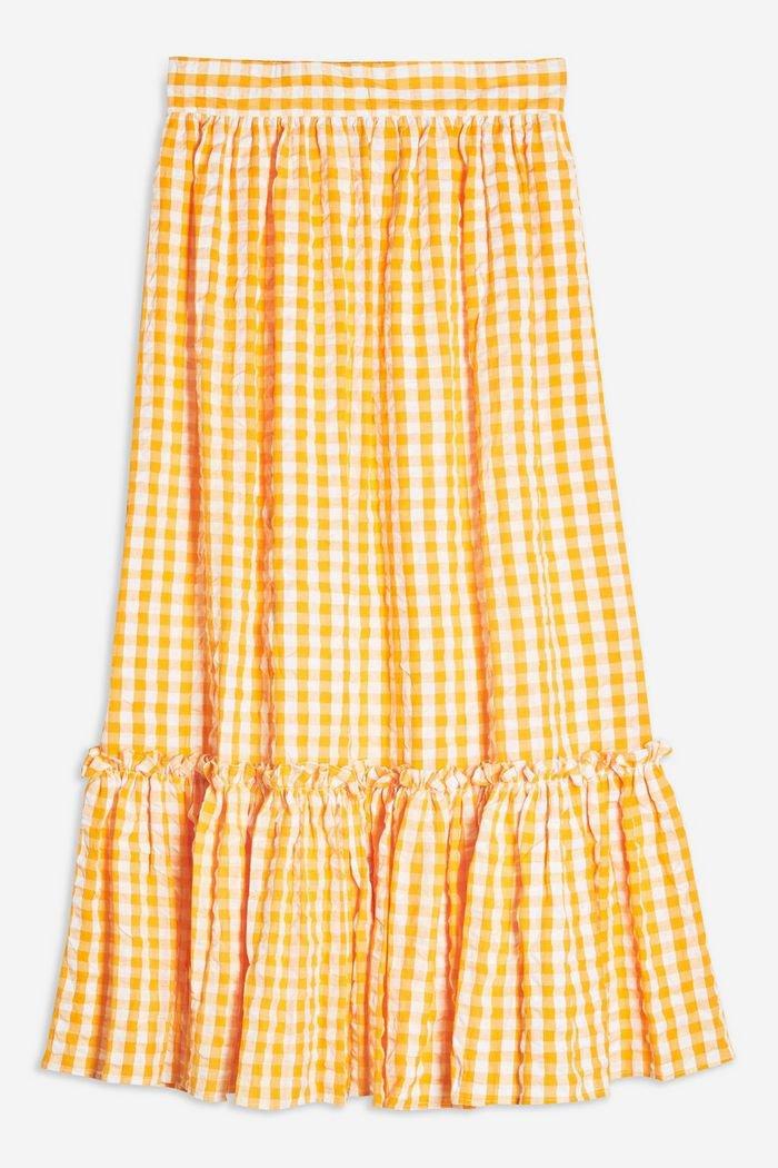 Gingham Wrap Midi Skirt | Topshop yellow