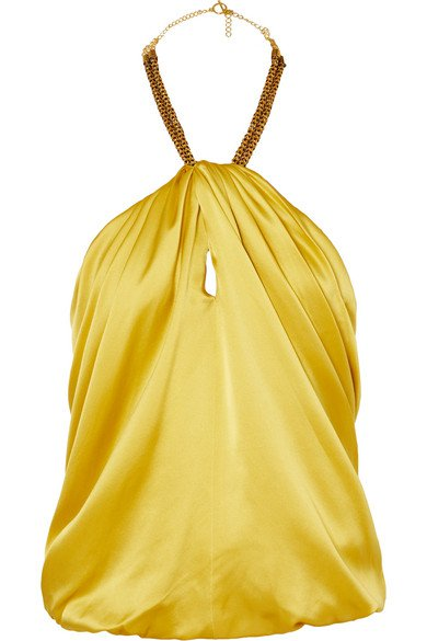 Haney | Claudia embellished silk-satin halterneck top | NET-A-PORTER.COM