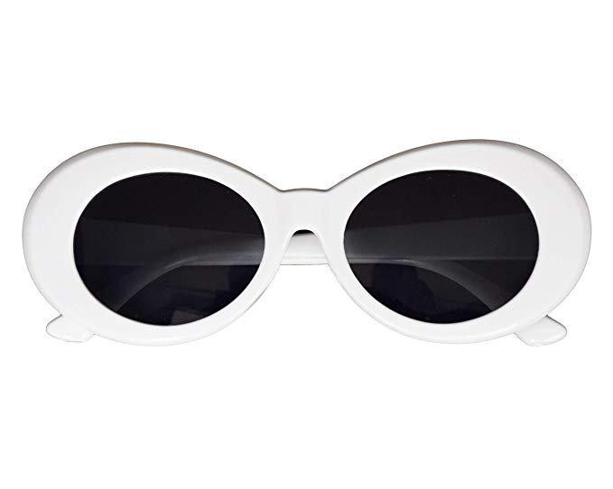 Amazon.com: JUSLINK Bold Retro Oval Mod Thick Frame Sunglasses Round Lens Clout Goggles White: Clothing