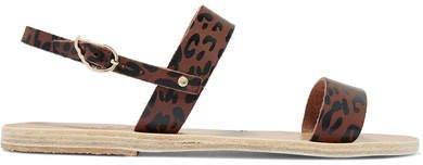 Clio Leopard-print Leather Slingback Sandals - Leopard print