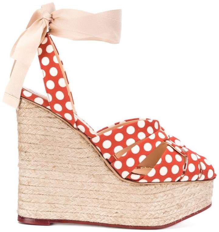 polka dot high heel wedges