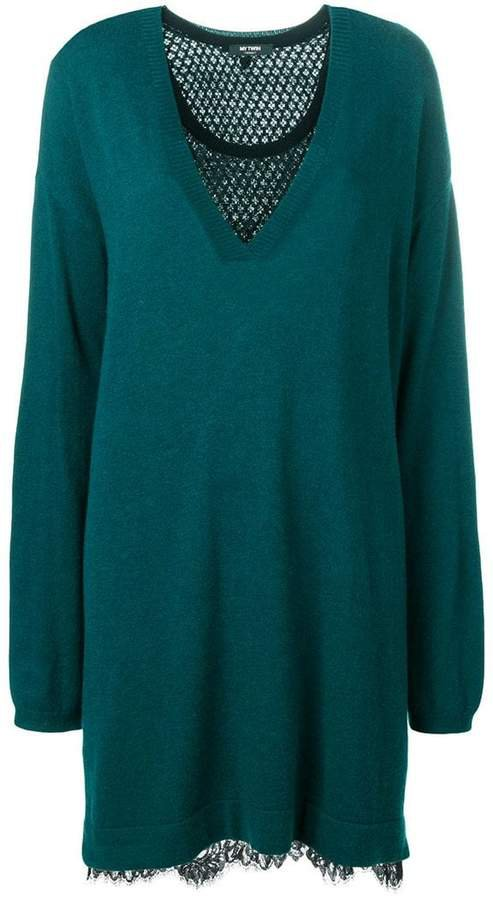lace insert sweater dress