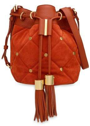 Vicki Textured-leather And Quilted Suede Bucket Bag