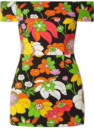 Off-the-shoulder Floral-print Mini Dress - Black