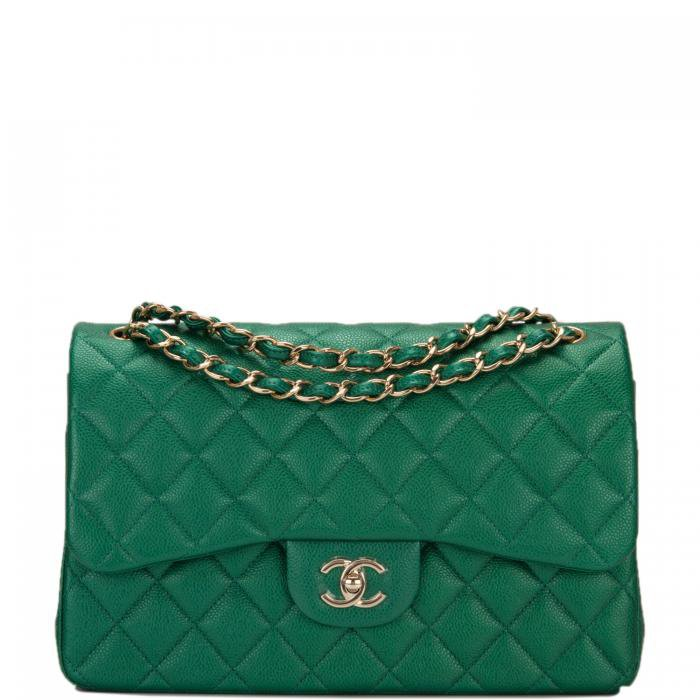 Chanel Green Shiny Quilted Caviar Jumbo Classic Double Flap Bag   World's Best