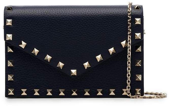 blue Rockstud leather envelope clutch