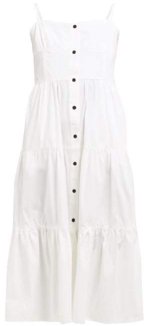 Tiered Cotton Poplin Midi Dress - Womens - Ivory