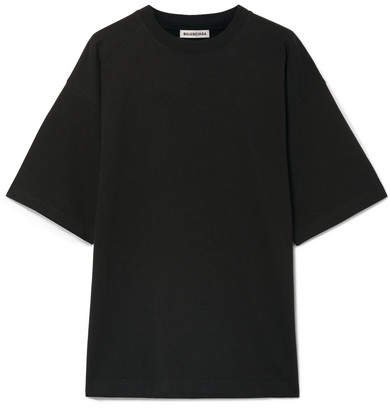 Oversized Embroidered Cotton-jersey T-shirt - Black