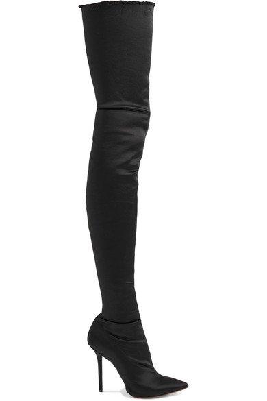 Vetements   Frayed satin thigh boots   NET-A-PORTER.COM