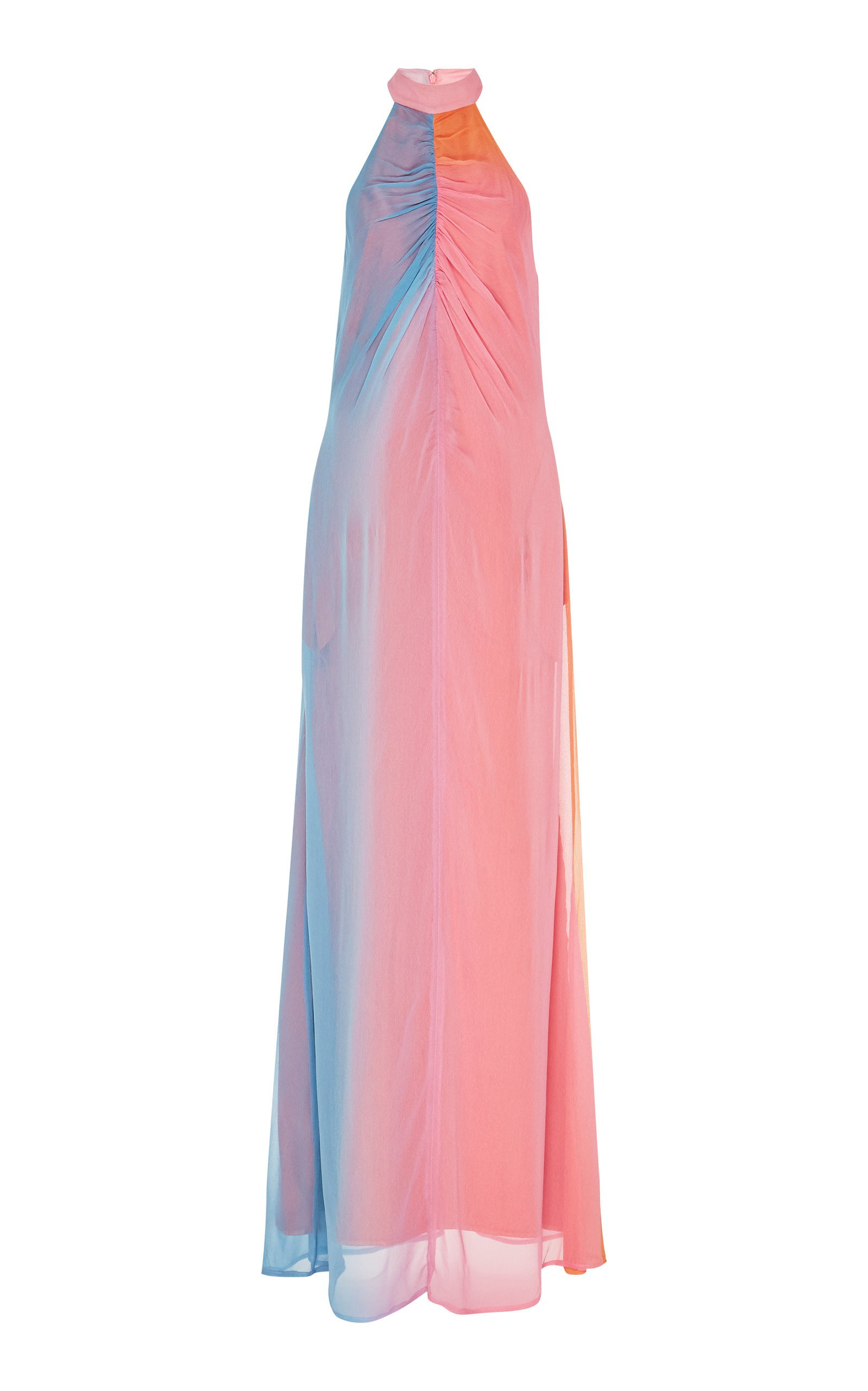 Staud Coastal Ombre Ruched Halter Gown Size: 8