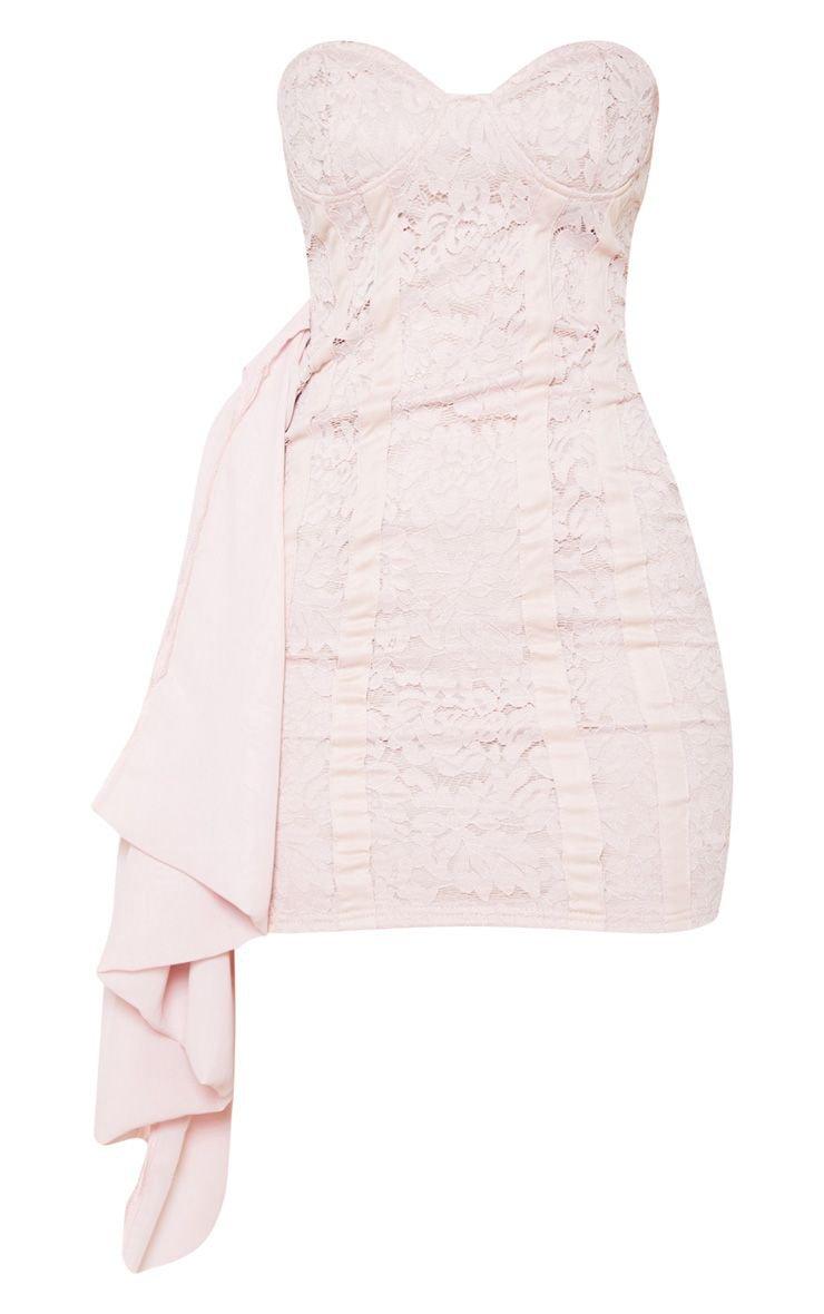 Bright Orange Lace Bandeau Bodycon Dress | PrettyLittleThing USA
