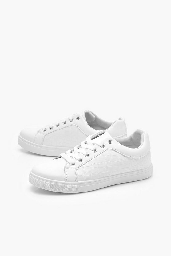 Croc Panel Basic Sneakers | Boohoo