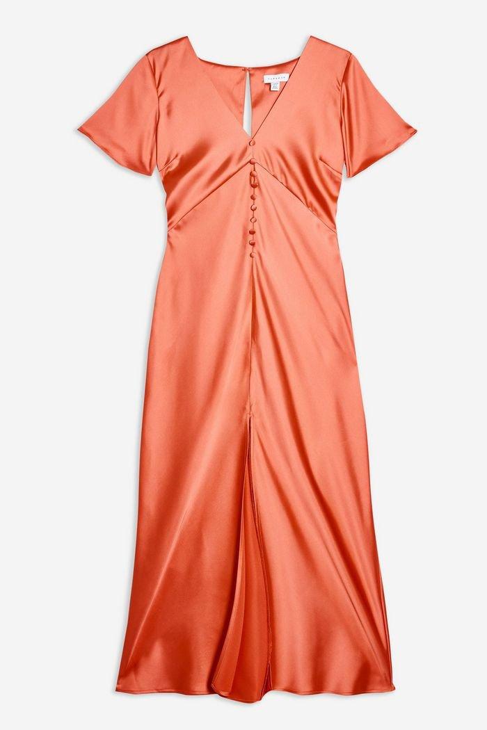 Satin Angel Sleeve Dress   Topshop