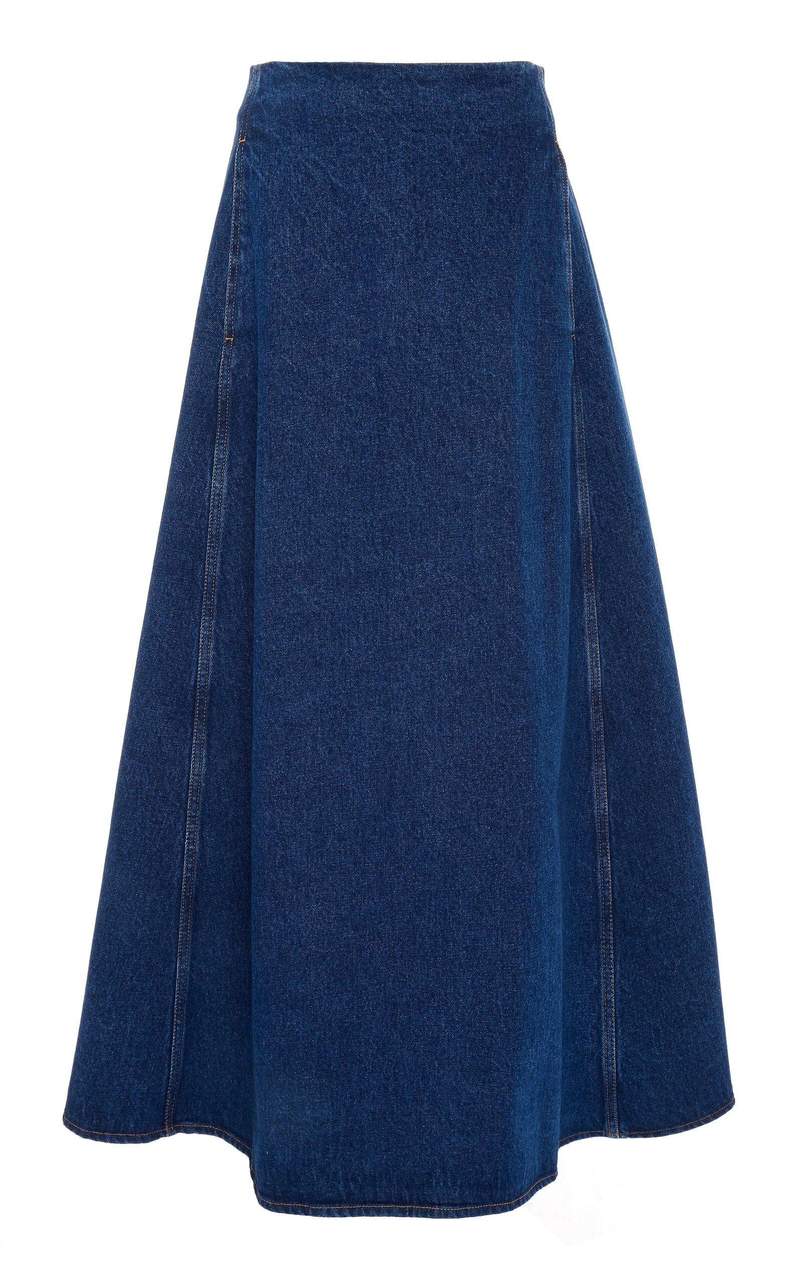 MM6 Denim A-Line Midi Skirt
