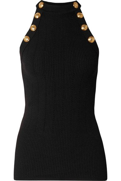 Balmain | Button-embellished ribbed wool-blend tank | NET-A-PORTER.COM