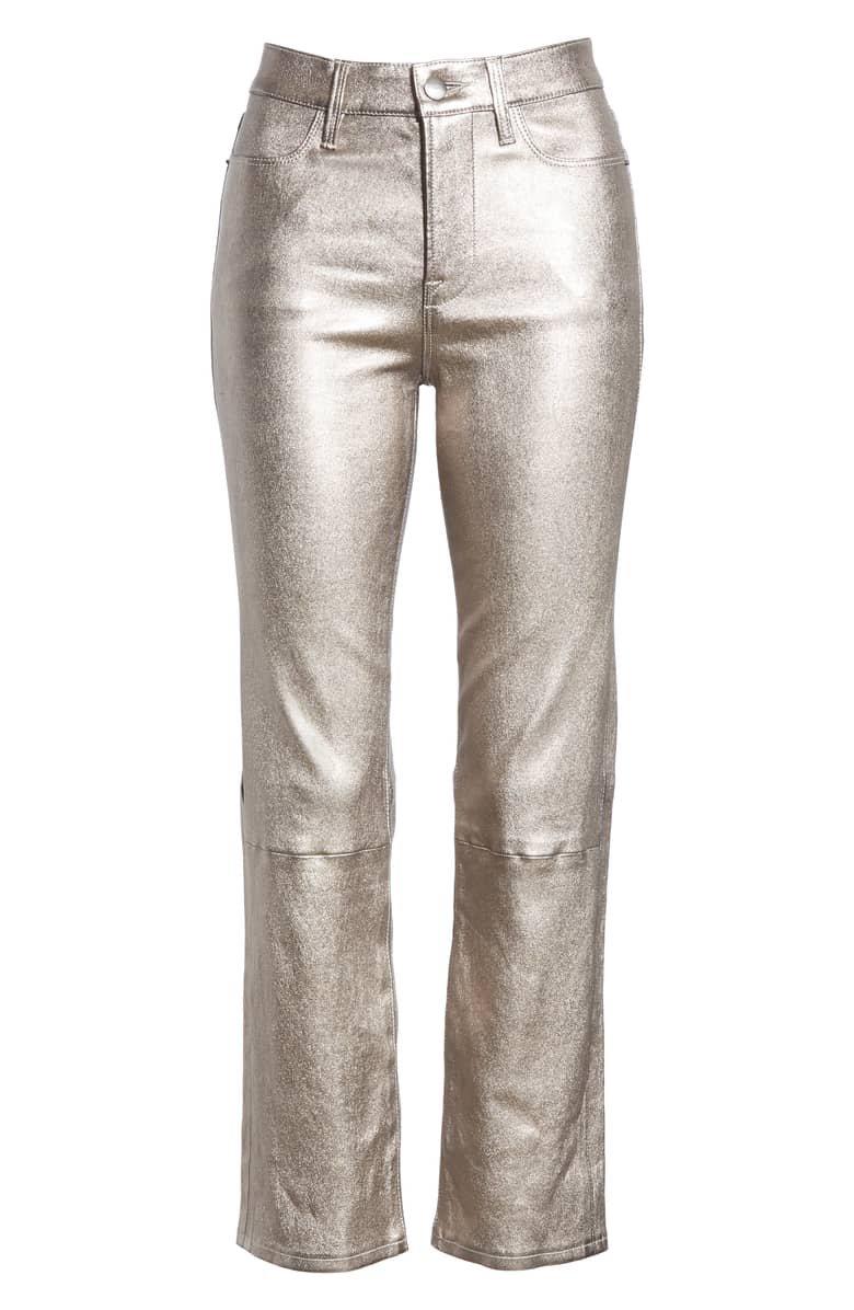 FRAME Straight Leg Metallic Leather Pants | Nordstrom