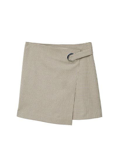 MANGO Buckle checked skirt