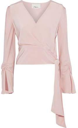 Wrap-Effect Ruched Silk Crepe De Chine Blouse