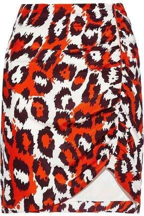 Nadia Ruched Leopard-print Silk Mini Skirt
