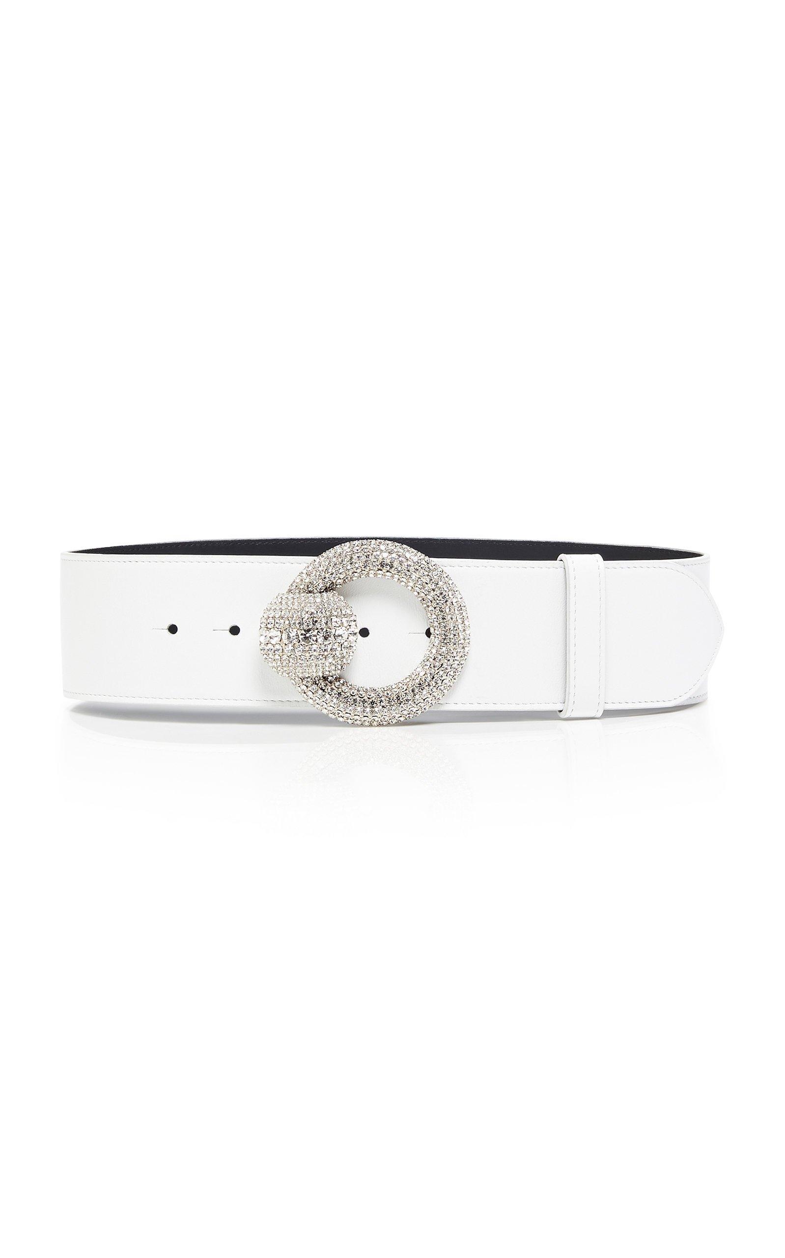 Alessandra Rich Glass Crystal-Embellished Buckle Leather Belt Size: L