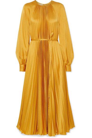 Oscar de la Renta | Pleated satin-crepe midi dress | NET-A-PORTER.COM