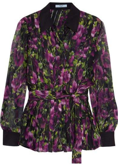 Pleated Floral-print Silk-crepon Blouse - Purple