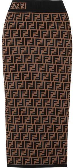 Jacquard-knit Midi Skirt - Brown