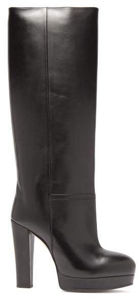 Britney Platform Leather Knee Boots - Womens - Black