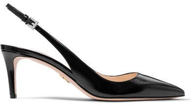 65 Textured Patent-leather Slingback Pumps - Black