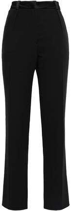 Satin-trimmed Cady Slim-leg Pants