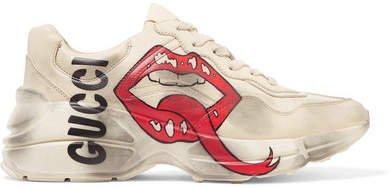 Rhyton Printed Leather Sneakers - Cream