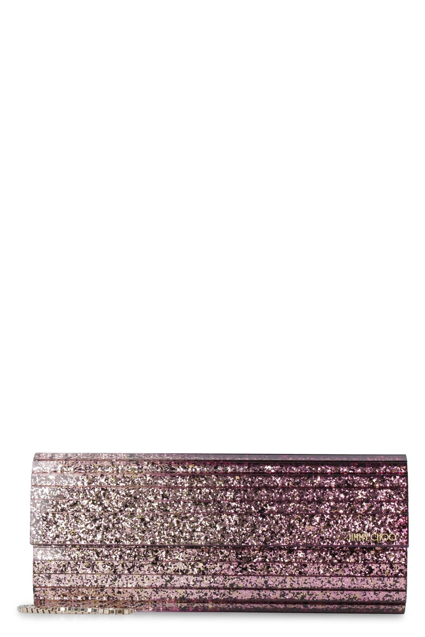 Jimmy Choo Sweetie Glitter Acrylic Box Clutch